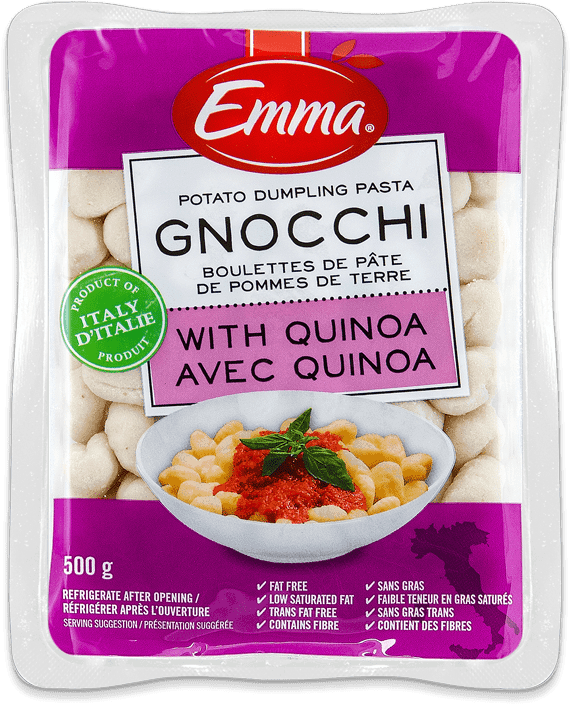 Packaging for Emma Gnocchi with Quinoa.