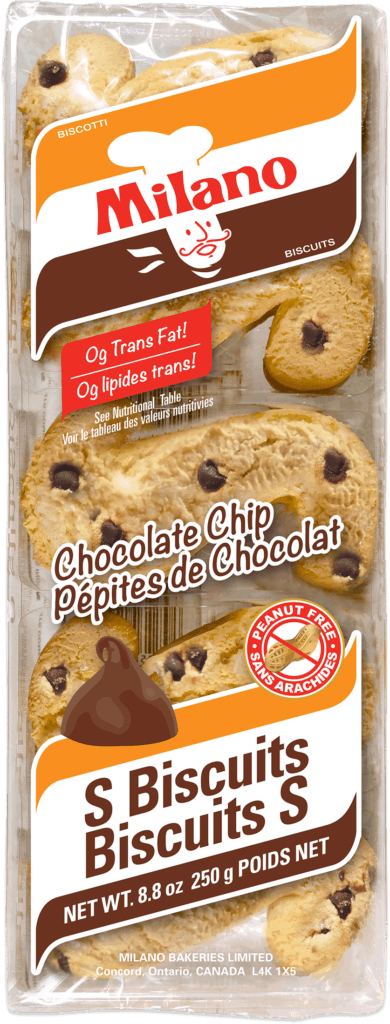 Packaging for Milano Chocolate Chip S Biscuits.