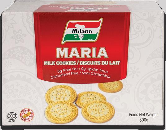Packaging for Milano Maria Milk Cookies.
