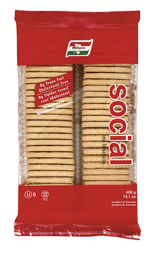 Packaging for Milano Social Tea Biscuits.