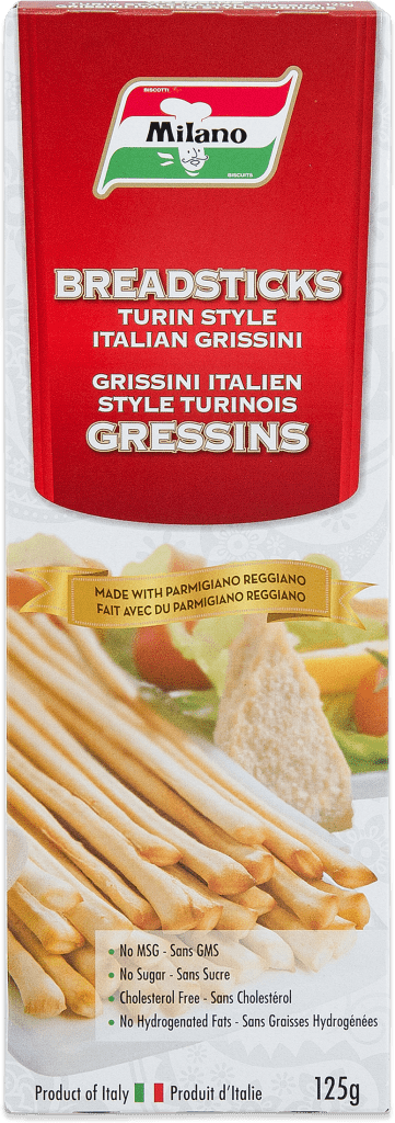 Packaging for Milano Turin Style Breadsticks with Parmigiano Reggiano.