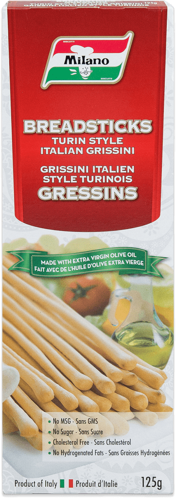 Packaging for Milano Turin Style Breadsticks with Extra Virgin Olive Oil.