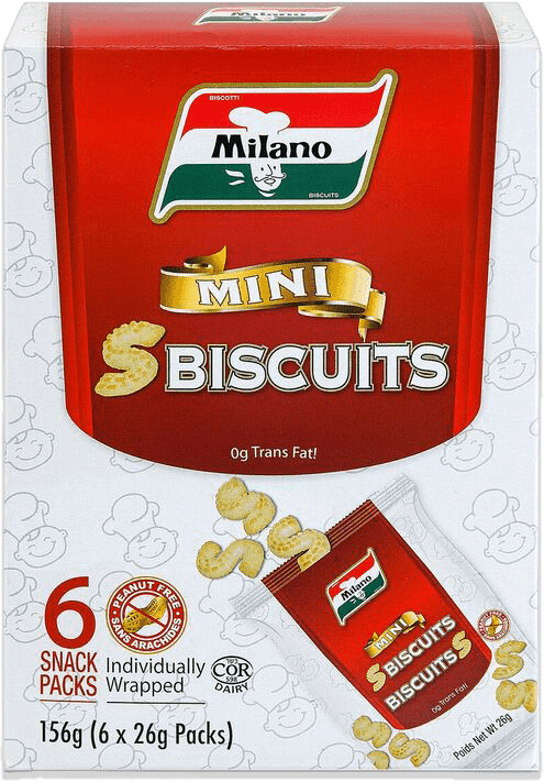Packaging for Milano Mini S Cookies.