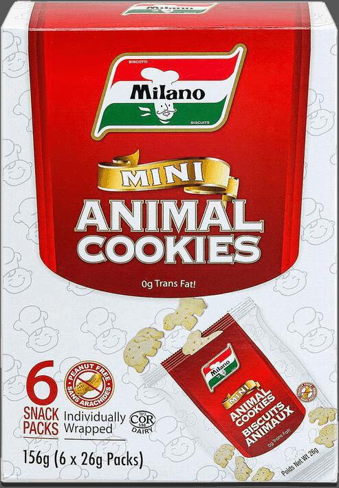 Packaging for Milano Mini Animal Cookies.