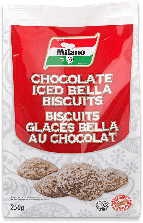 Packaging for Milano Chocolate Iced Bella Biscuits.