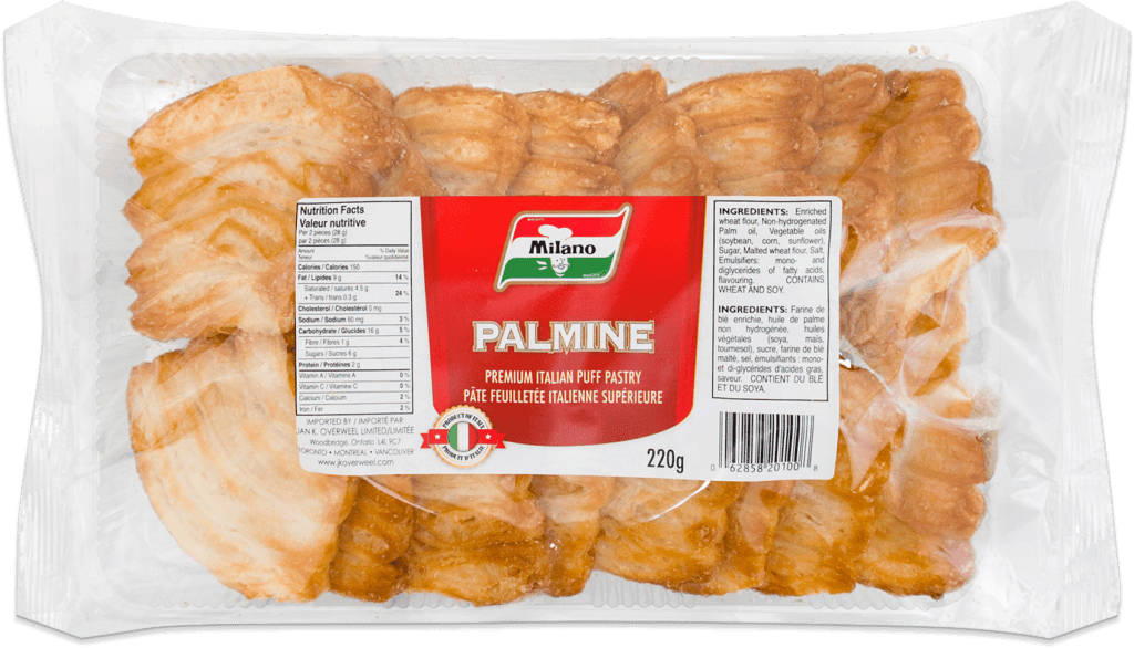 Packaging for Milano Palmine Puff Pastry.