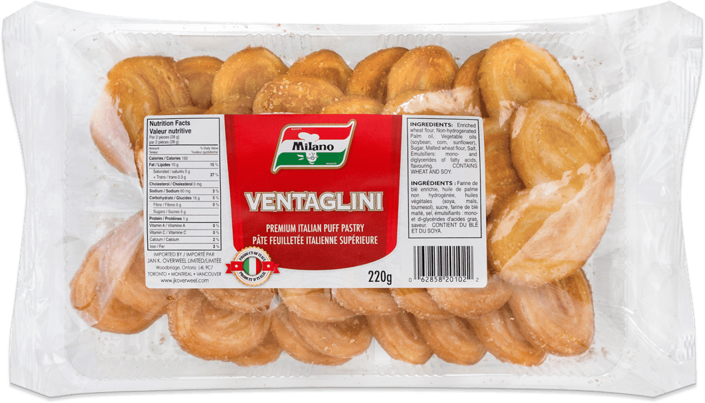 Packaging for Milano Ventaglini Puff Pastry.